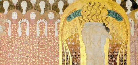 Gustav Klimt, _Beethoven Frieze_, detail: Choir of Angels and Embracing Couple