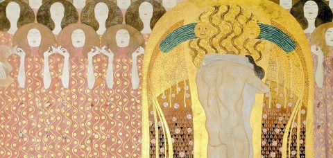 Gustav Klimt, Beethoven Frieze (detail): Choir of Angels and Embracing Couple