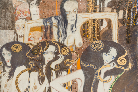 Gustav Klimt, Beethoven Frieze: detail: the three Gorgons, in the background Sickness, Madness, and Death