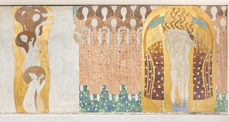 Gustav Klimt, Beethoven Frieze: The Arts, Choir of Angels, Embracing Couple